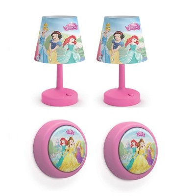 Philips Disney Princess LED Push Night Light 2 Pk w/ Disney Princess Lamp 2 Pk