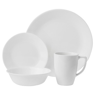 Corelle Livingware Winter Frost Vitrelle 16pc Dinnerware Set White
