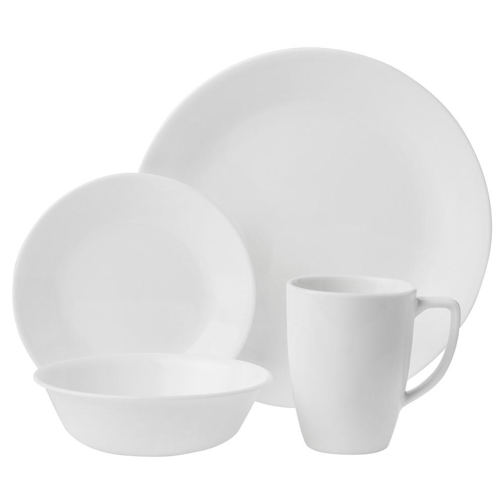 Corelle Livingware Winter Frost Vitrelle 16pc Dinnerware Set White