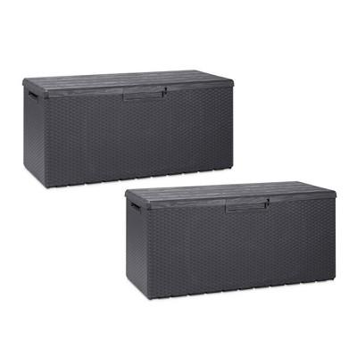 Toomax Z175E097 Portorotondo Weather Resistant Heavy Duty 90 Gallon Novel Resin Outdoor Deck Box, Gray (2 Pack)
