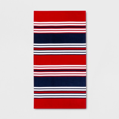 Horizontal Stripes Beach Towel Navy/Red - Sun Squad™