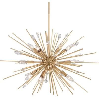 "Possini Euro Design Antique Gold Sputnik Pendant Chandelier 29 1/2"" Wide Modern 12-Light Fixture Dining Room House Foyer Kitchen"
