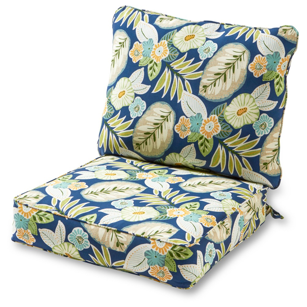 Image of 2pc Marlow Floral Outdoor Deep Seat Cushion Set - Kensington Garden, Blue Multicolored