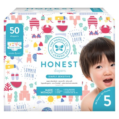 Honest Company Disposable Diapers, Shore Thing - Size 5 (50ct)