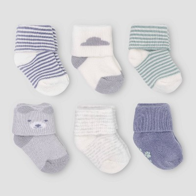 Baby Boys' 6pk Folded Cuff Bear & Terry Socks - Just One You® made by carter's 0-3M