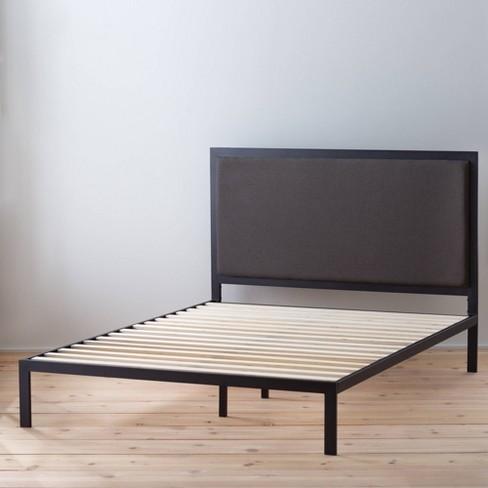 Metal Platform Bed Frame with Upholstered Headboard - Brookside Home  - image 1 of 4