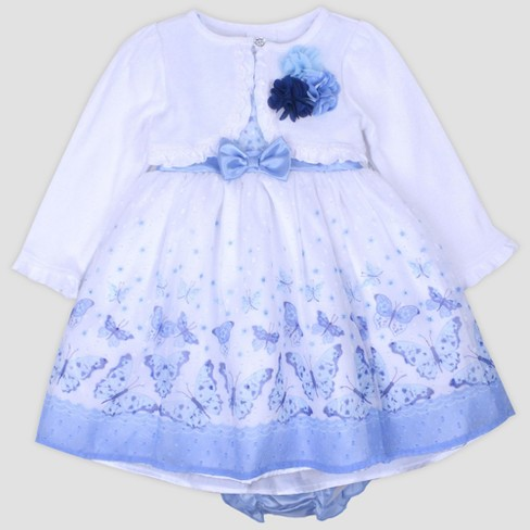 Baby Girls' Printed Swiss Dot Chiffon Dress with Shrug Nate & Annee™ Blue - image 1 of 2
