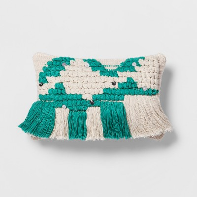 Teal Fringe Small Lumbar Pillow - Opalhouse™