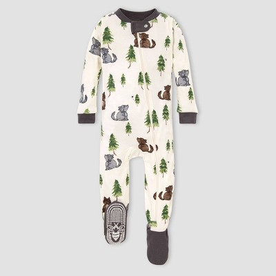 Burt's Bees Baby® Baby Boys' Organic Cotton Wolves Footed Pajama - Cream/Gray 3-6M
