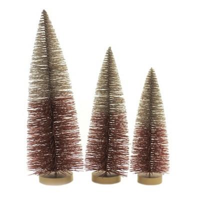 "Fall 15.0"" Two-Toned Glitter Trees Set Of Three Fall Decor  -  Decorative Figurines"