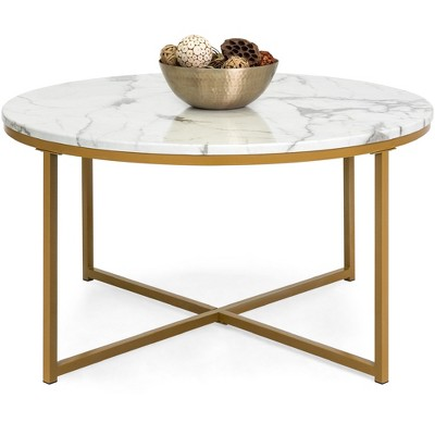 Best Choice Products 36in Faux Marble Modern Round Living Room Accent Coffee Table w/ Metal Frame