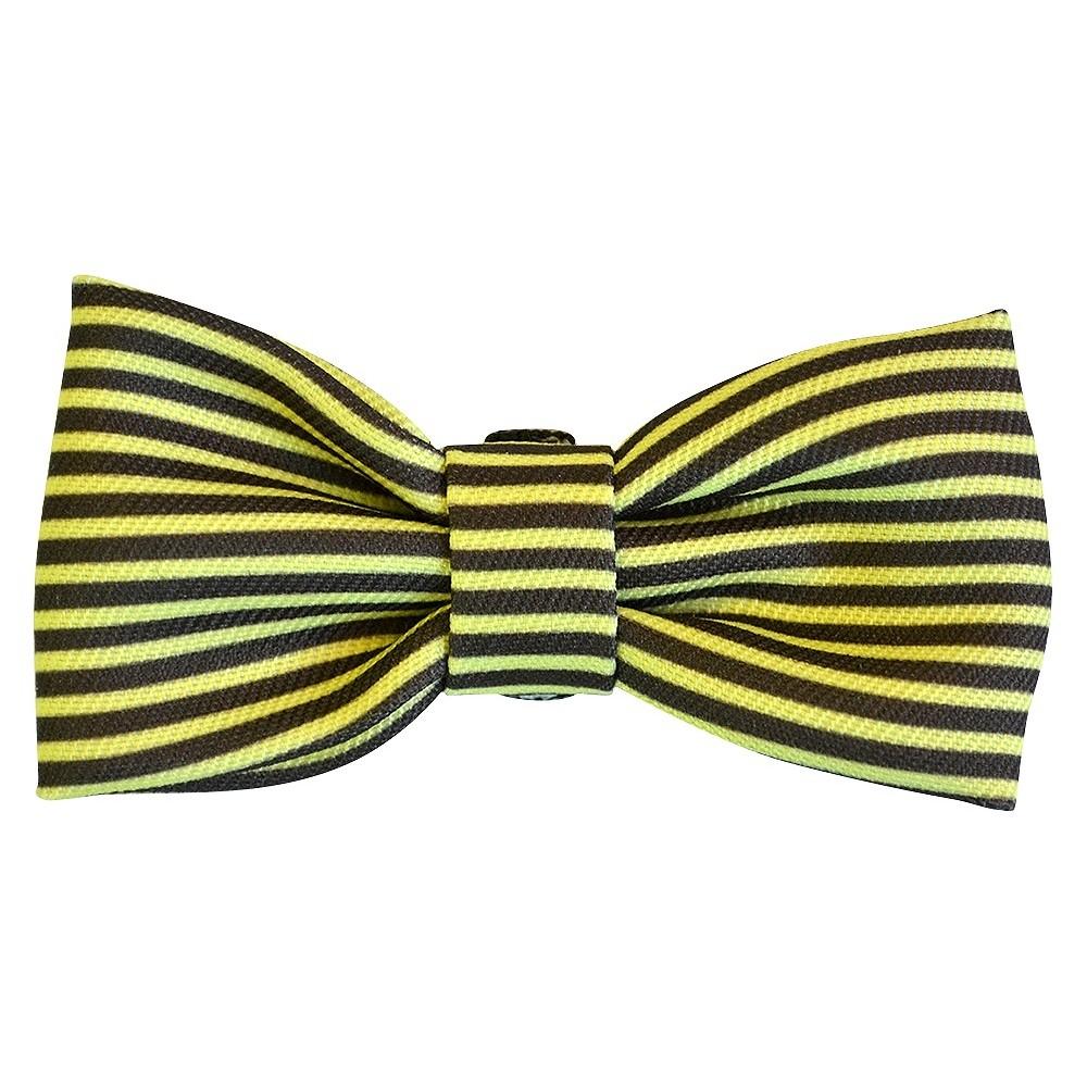 Bow Tie Dog Collar Accessory - Gold/Gray Stripe - Boots & Barkley, Thin Stripe - Fairest Gold/Radiant Gray