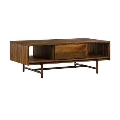 Superb Rustic Oak Coffee Table with Drawer Brown - Armen Living