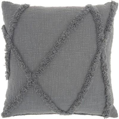 Life Styles Distressed Diamond Throw Pillow Gray - Nourison