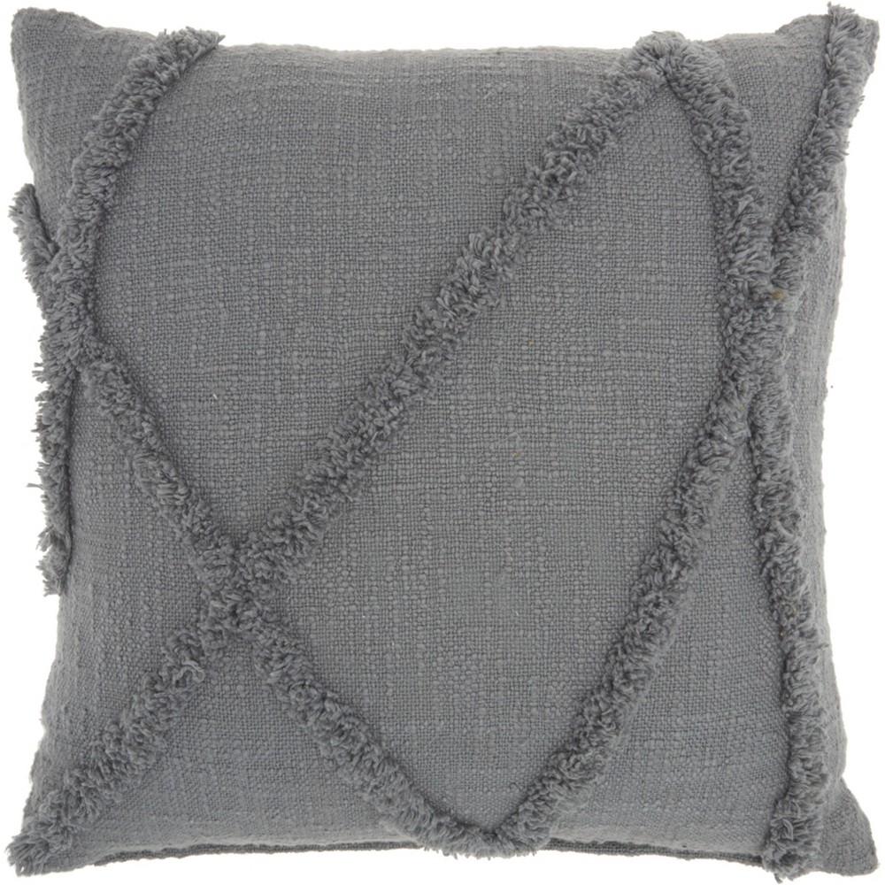 Image of Life Styles Distressed Diamond Throw Pillow Gray - Nourison