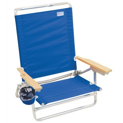 RIO Brands Classic Portable Lightweight 5 Position Aluminum Lay Flat Folding Beach Lounge Chair, Pacific Blue