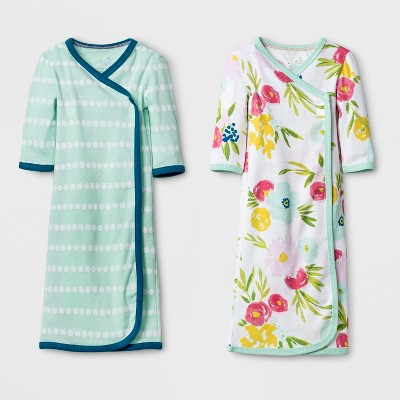 Baby Girls' 2pk Gown Set Cloud Island™ - Mint/Blue Preemie