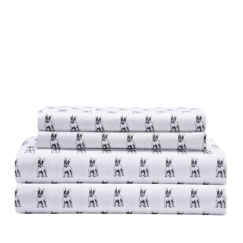 King Microfiber Whimsical Printed Sheet Set Bulldog Elite Home Products