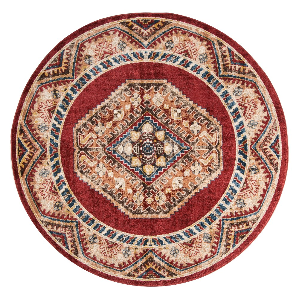 6'7 Medallion Round Area Rug Red/Rust (Red/Red) - Safavieh