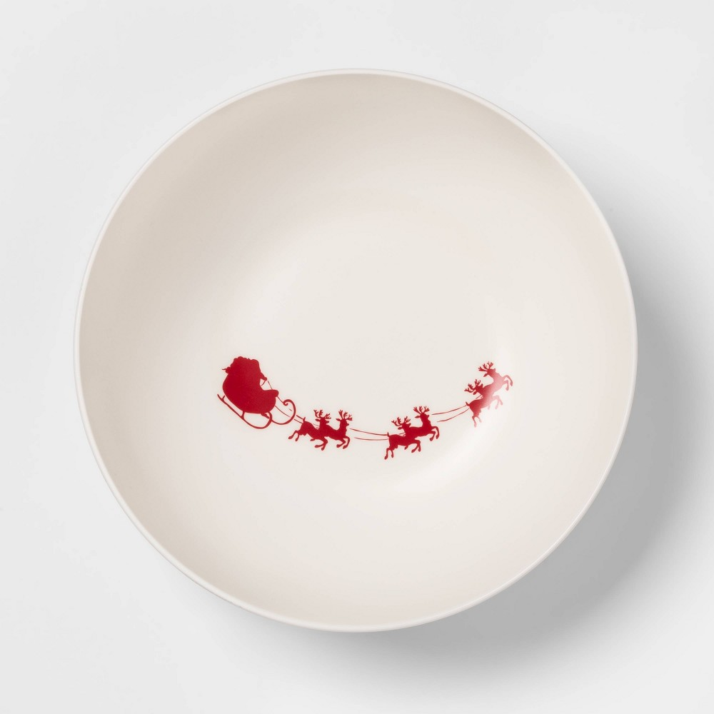 Image of 101oz Melamine Santa's Sleigh Serving Bowl White - Threshold