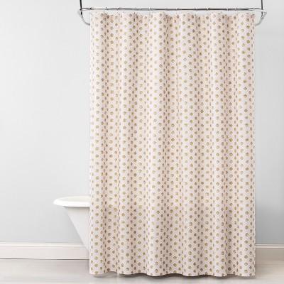 Snowflakes Metallic Medallion Shower Curtain Golden Mist - Opalhouse™
