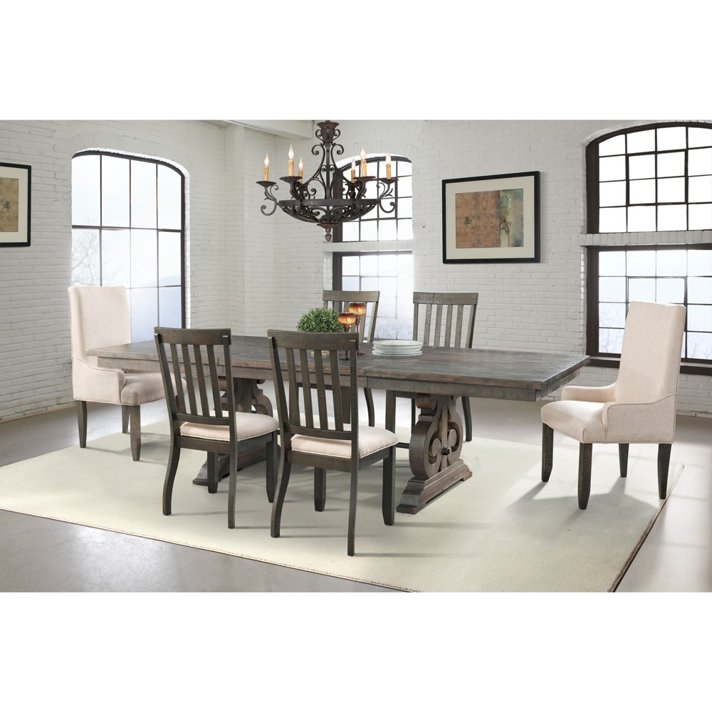 Stanford 7pc Dining Set Table, 4 Side Chairs And 2 Parson Chairs Dark Ash/Cream - Picket House Furnishings