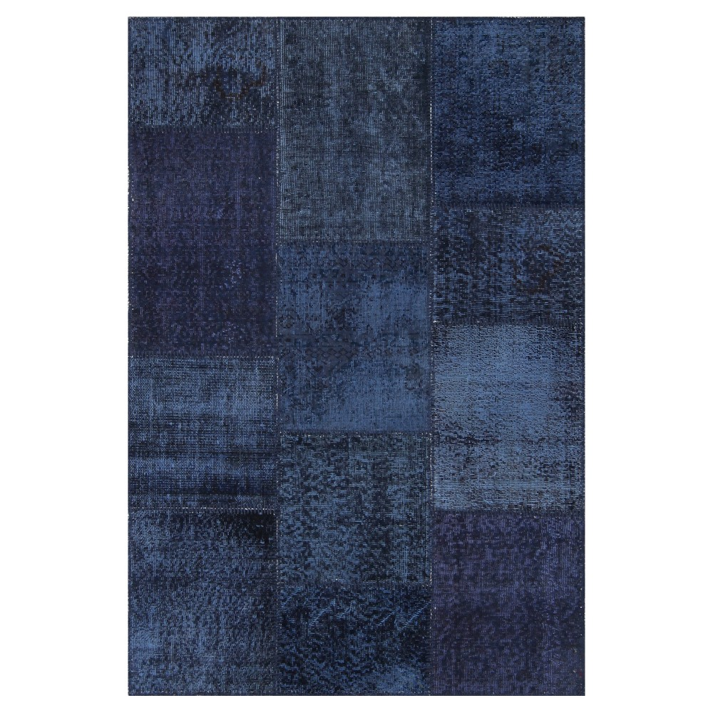 "Image of ""Antique Patchwork Accent Rug Deep Sea 3'11""""x5'11"""", Deep Blue"""