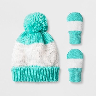 Toddler Girls' Pom Knit Beanie Hat and Mitten Set - Cat & Jack™ Teal 12-24M
