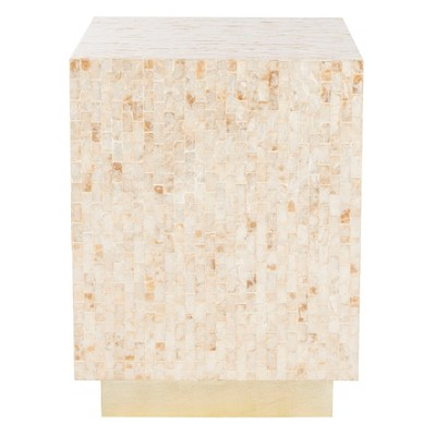 Juno Rect Mosaic Side Table Beige/Gold - Safavieh