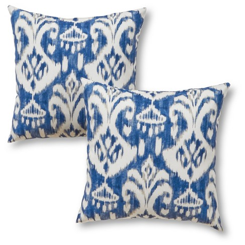 Set of 2 Coastal Ikat Outdoor Square Throw Pillows - Greendale Home Fashions - image 1 of 3