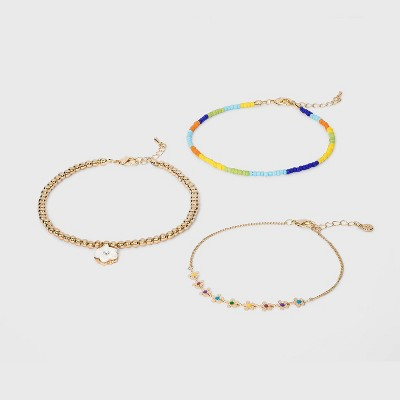 Shiny Gold with Beads and Acrylic Flower Charm Anklet Set 3pc - Wild Fable™