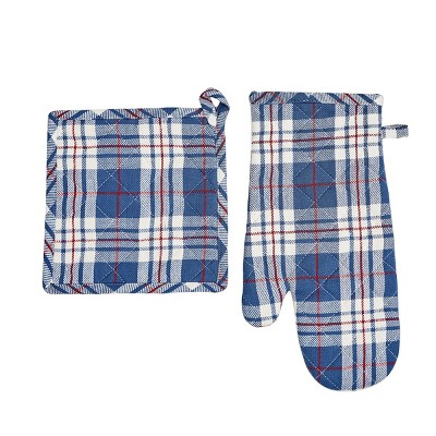 C&F Home Parker Blue Pot Holder & Oven Mitt Set