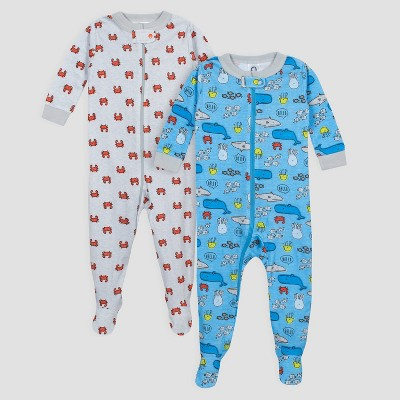 Gerber Baby Boys' 2pk Under the Sea Long Sleeve Footed Unionsuit Pajama Set - Blue/Gray 6M