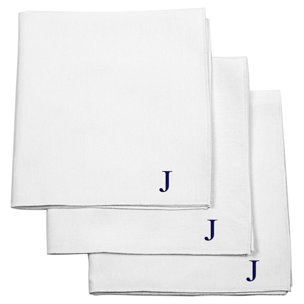 Monogram Groomsmen Gift Handkerchief Set - J, White
