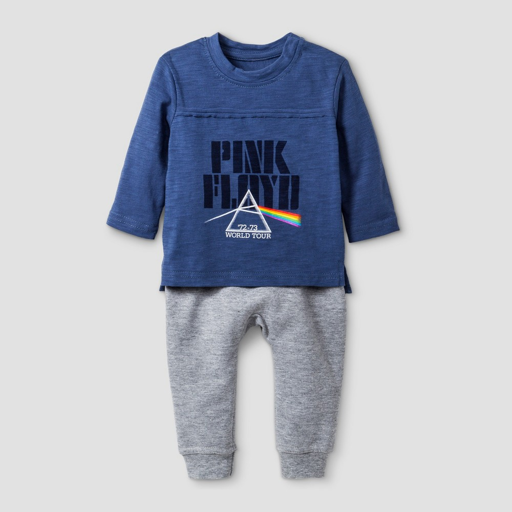 Baby Boys' Pink Floyd 2pc Long Sleeve T-Shirt and Jogger Set - Blue 0-3M