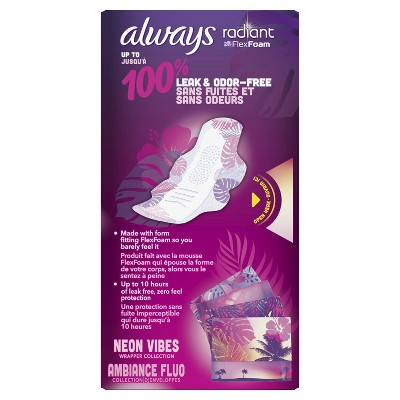 Always Radiant Regular Absorbency Pads With Wings - Scented - Size 1 - 30ct : Target