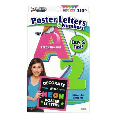 310pc Neon Poster Letters & Numbers - ArtSkills