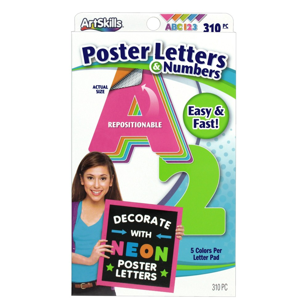 Image of 310pc Neon Poster Letters & Numbers - ArtSkills