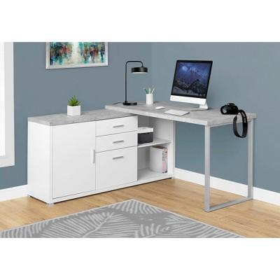 "Monarch Specialties Computer Desk, 60""L White / Cement-Look Left/Right Face"