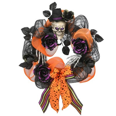 """22"""" Ribbons with Skull Halloween Wreath - Black"""