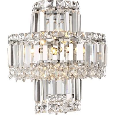 "Vienna Full Spectrum Wall Light Sconce Chrome Hardwired 12 1/2"" High Fixture Tiered Clear Crystal for Bedroom Bathroom Hallway"