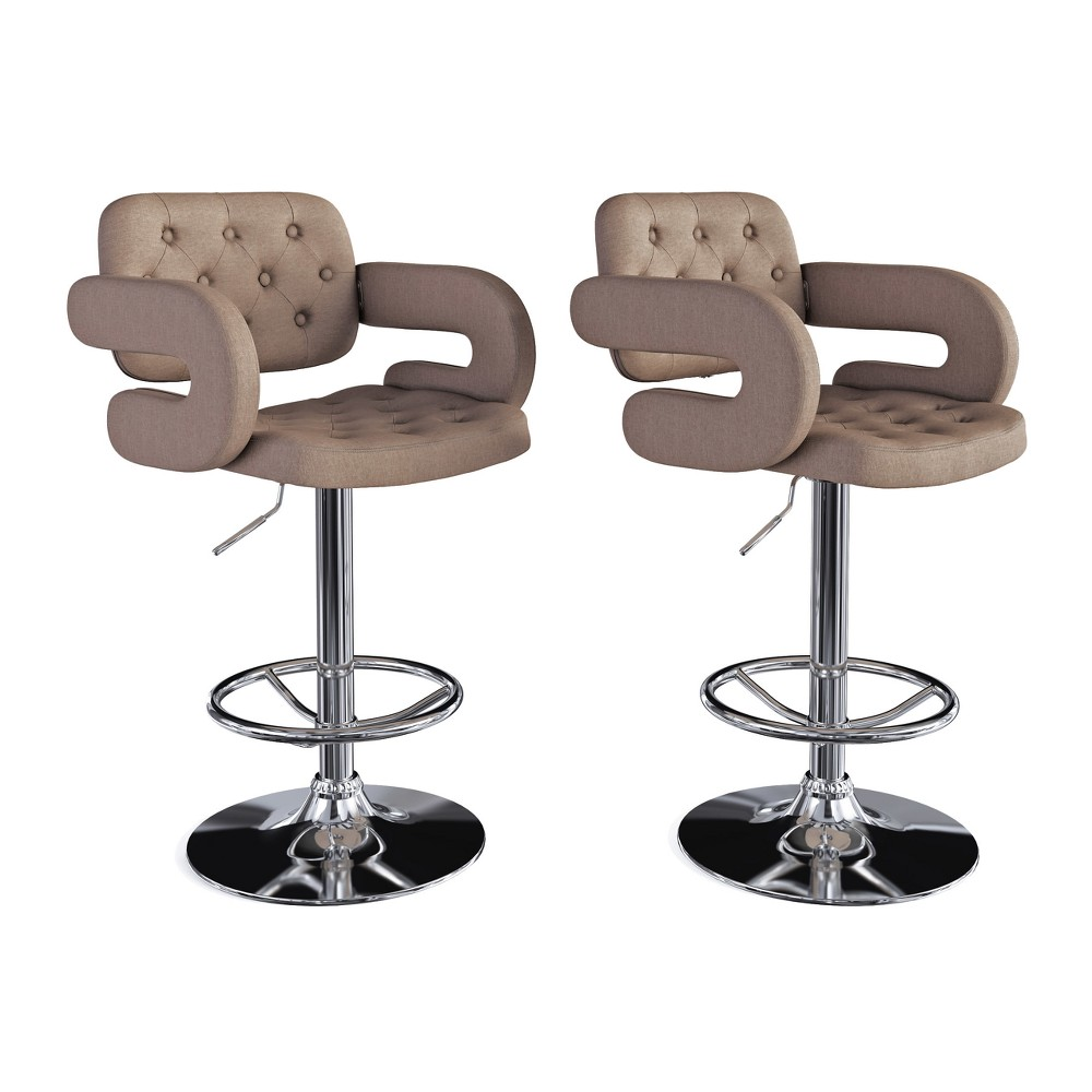 Adjustable Tufted Fabric Barstool with Armrests, Set of 2 Light Brown - CorLiving