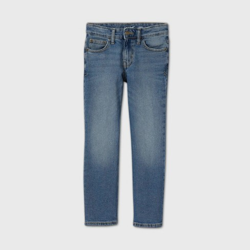 Boys' Stretch Straight Fit Jeans - Cat & Jack™ Medium Blue - image 1 of 2