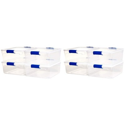 Homz Heavy Duty Modular Stackable Storage Tote Containers with Latching Lids, 15.5 Quart Capacity, Clear, 8 Pack