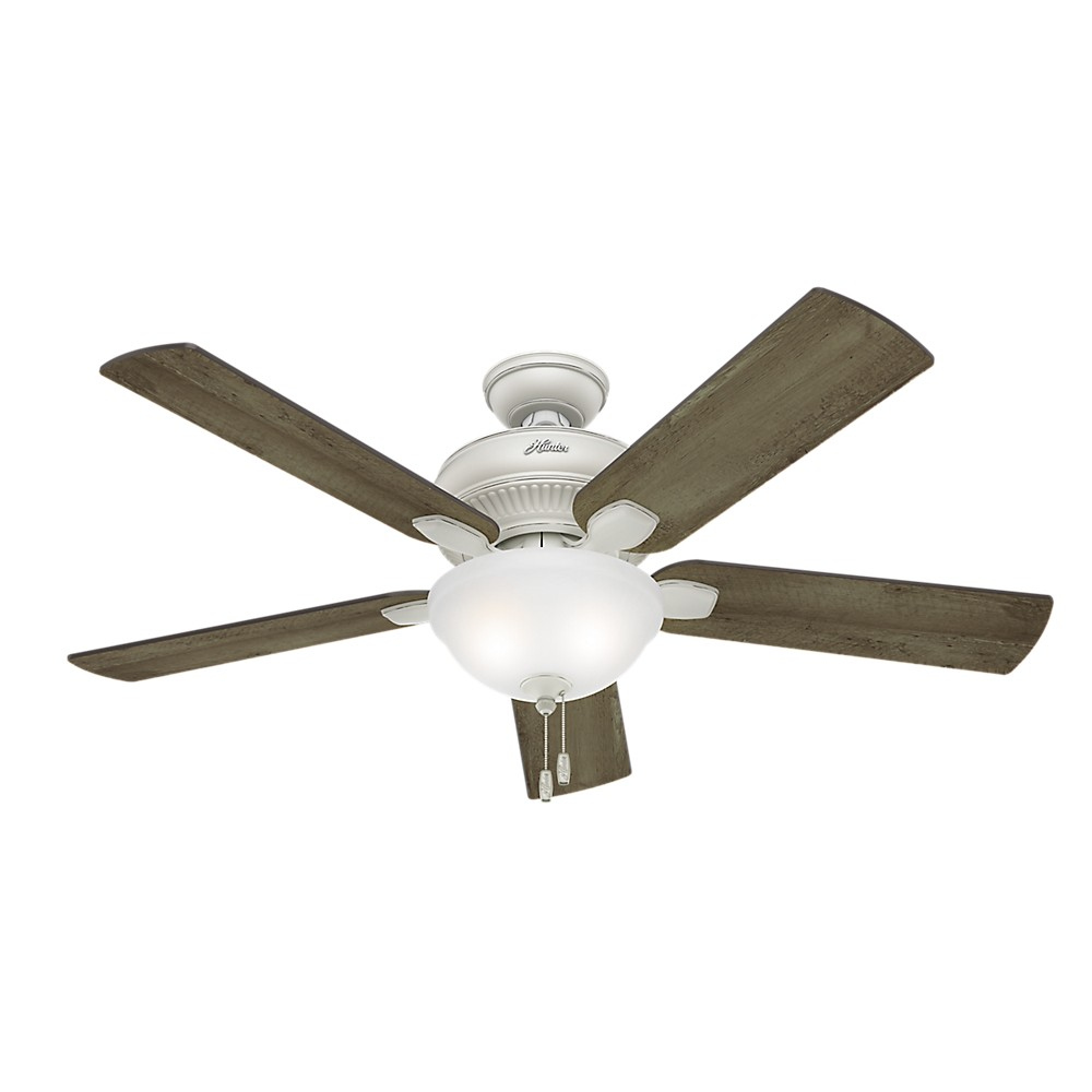 """Image of """"52"""""""" Matheston Cottage White Ceiling Fan with Light - Hunter Fan"""""""