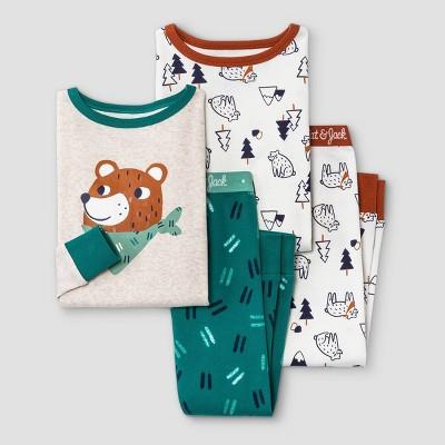 Toddler Boys' 4pc Bandana Bear Snug Fit Pajama Set - Cat & Jack™ Oatmeal Heather