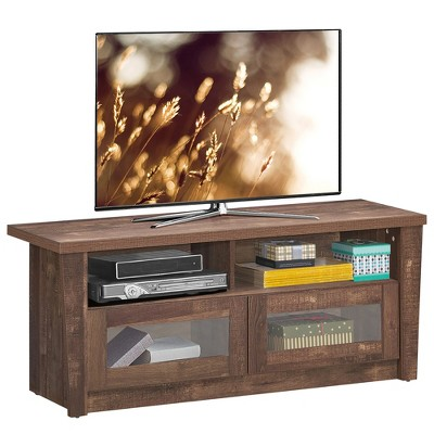 Costway TV Stand Entertainment  Center Hold up to 55'' TV with 2 Shelves & 2 Door Cabints