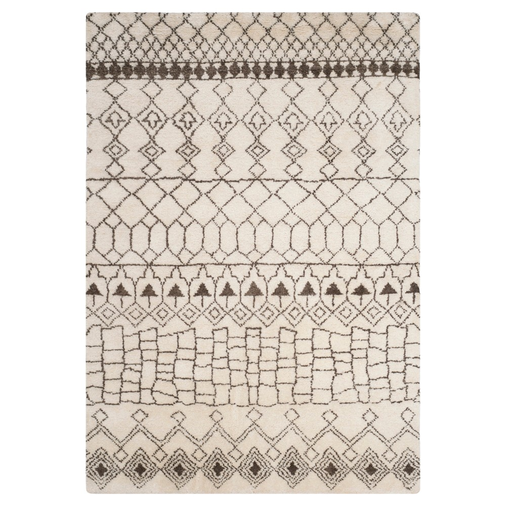 Creme/Brown Abstract Knotted Area Rug - (8'X10') - Safavieh, Beige