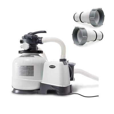 Intex 2800 GPH Above Ground Pool Sand Filter Pump w/Threaded Hose Adapter (Pair)