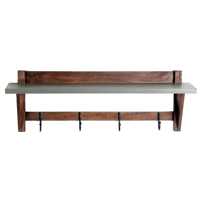 Brookside Entryway Coat Hook Concrete Coated Top and Wood Light Gray/Brown - Alaterre Furniture